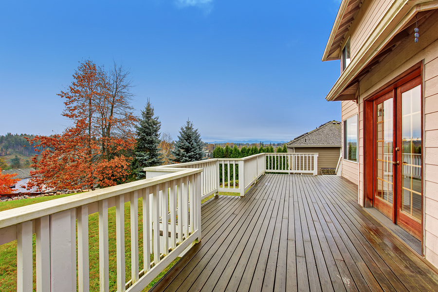 Landscaped Backyard With Deck